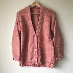 Vintage Handknit Dusty Pink Cardigan Sweater 80s